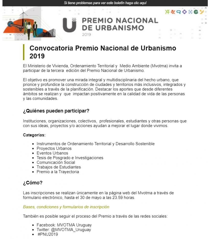 Premio Nacional de Urbanismo - MVOTMA